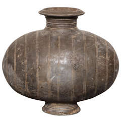 Western Han Dynasty Terracotta Cocoon Jar with Incised Bands from China