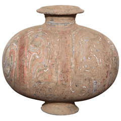 206 BC-200 AD Han Dynasty Antique Terracotta Silk Cocoon Jar with Original Paint
