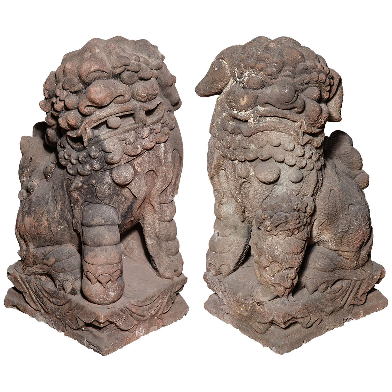 Late Ming Dynasty Antique Stone Lions from China, circa 16th-17th Century