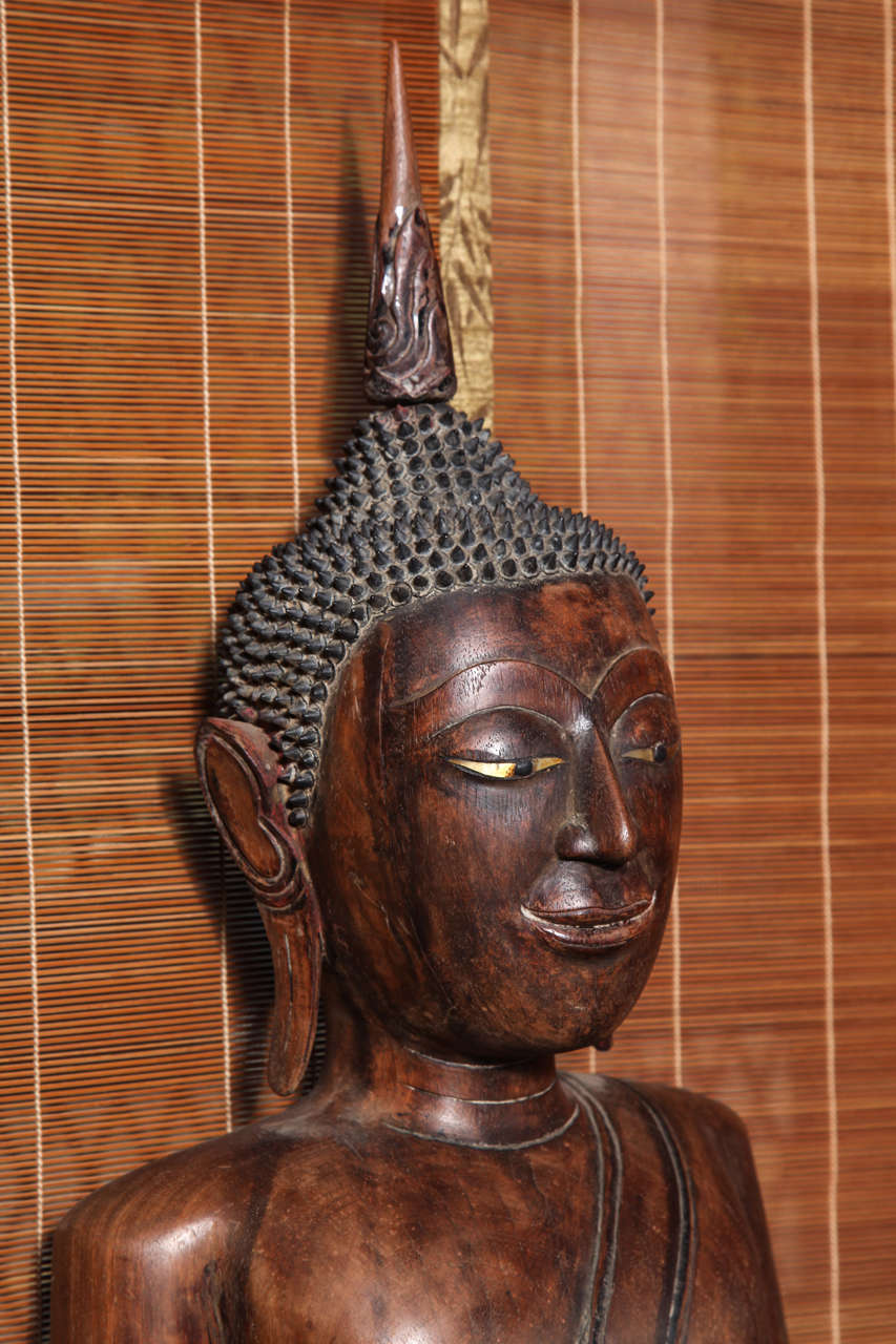 Antique Painted Teak Seated Buddha from Thailand, 17th-18th Century In Good Condition For Sale In Yonkers, NY