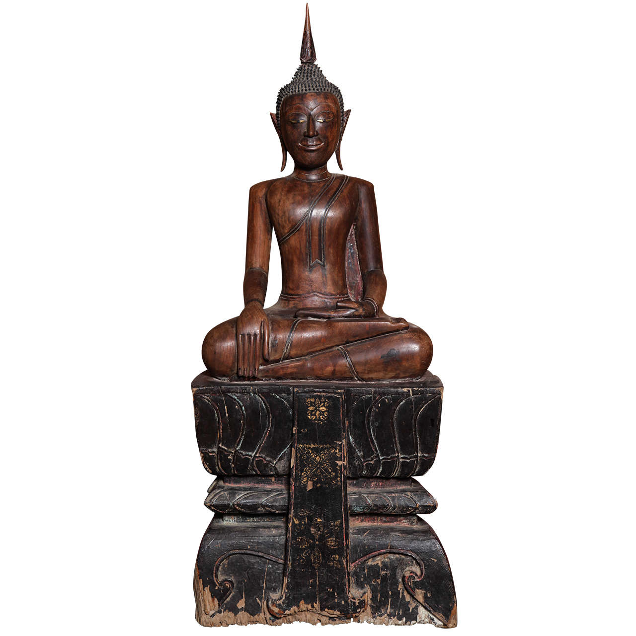 Antique Painted Teak Seated Buddha from Thailand, 17th-18th Century