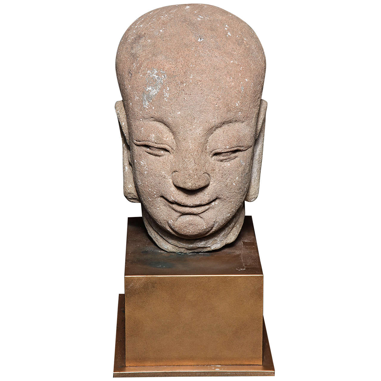 18th Century, Chinese Ming Dynasty Hand-Carved Stone Head of a Buddhist Monk