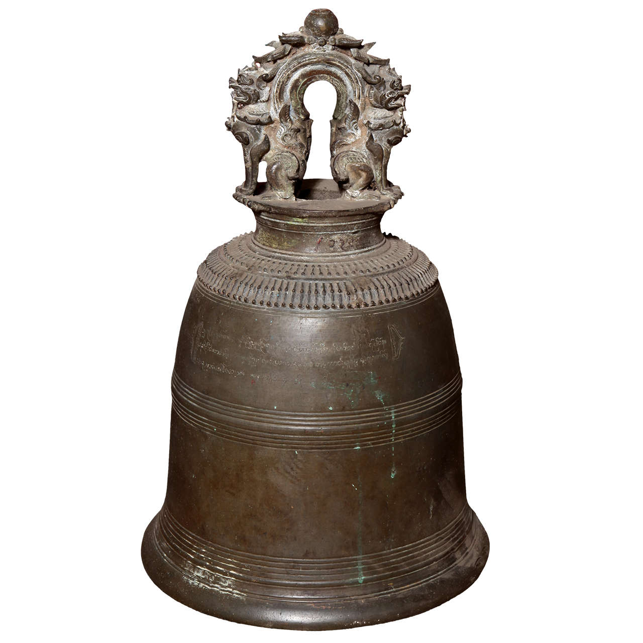 Rare 19th Century Burmese Temple Bronze Bell with Finely Cast Guardian Lions