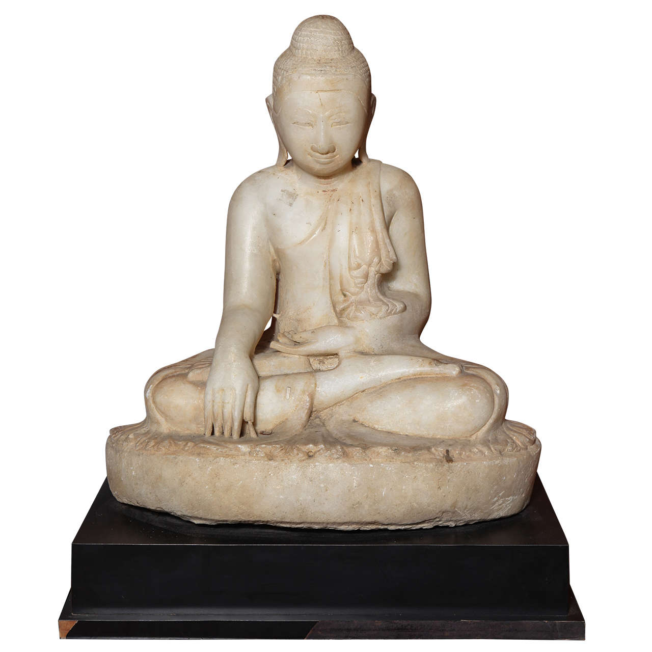 Early 19th Century Mandalay Style Hand-Carved Burmese Alabaster Buddha Sculpture