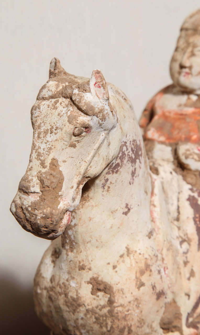 8th Century Tang Dynasty Chinese Terracotta Horse and Rider with Original Paint For Sale 4