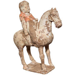 8th Century Tang Dynasty Chinese Terracotta Horse and Rider with Original Paint