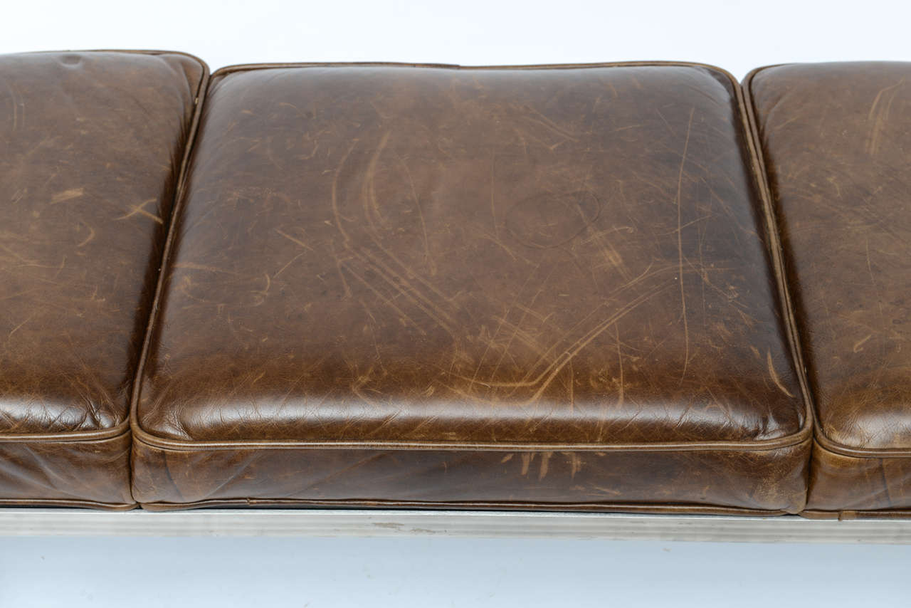 Nelson Steel Bench With Distressed Leather Seating At 1stdibs