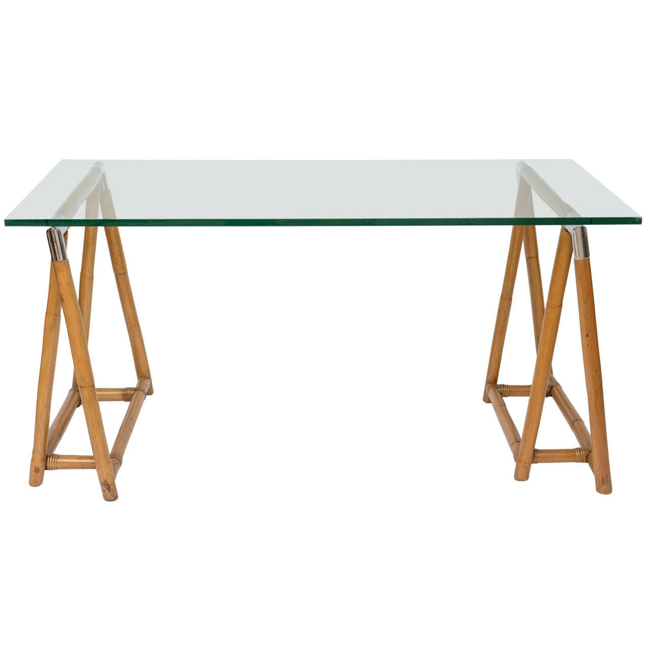 Bamboo Trestle Table with Glass Top and Chrome Detail at 1stdibs