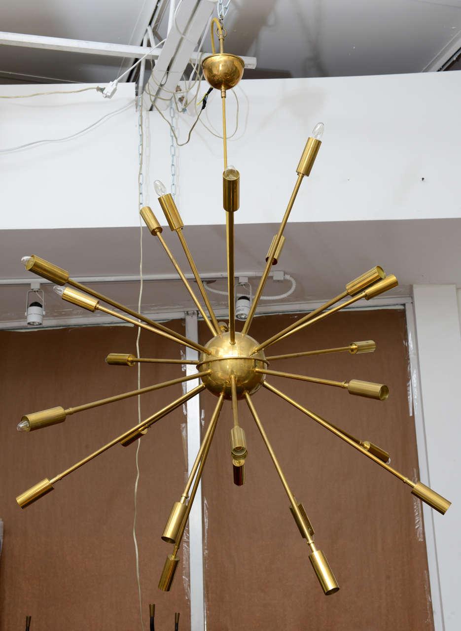 Stunning And Huge Brass Sputnik Chandelier From Stilnovo Italy Twenty Four Arm