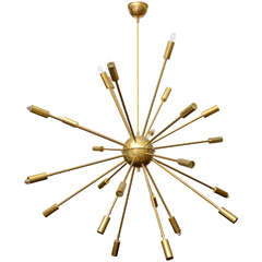 24-Arm Original Brass Sputnik Chandelier by Stilnovo