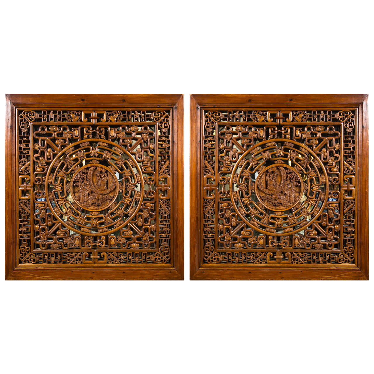 Pair of carved wood chinese panels at 1stdibs for Oriental wood carved furniture
