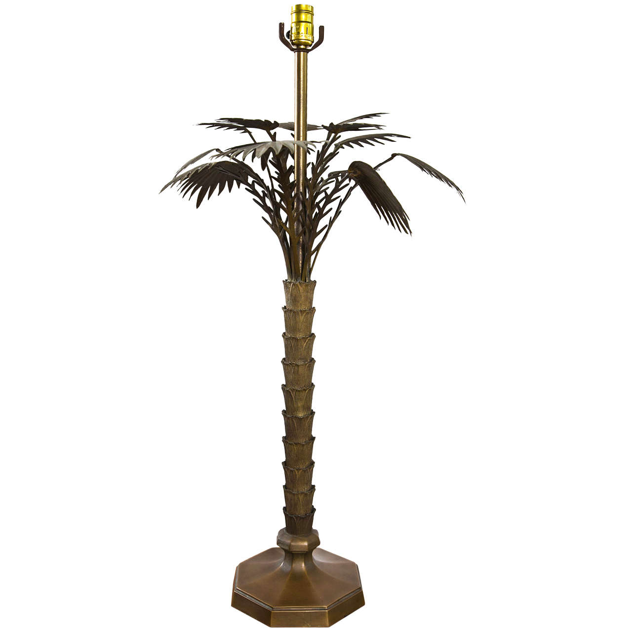 brass palm tree table lamp at 1stdibs. Black Bedroom Furniture Sets. Home Design Ideas