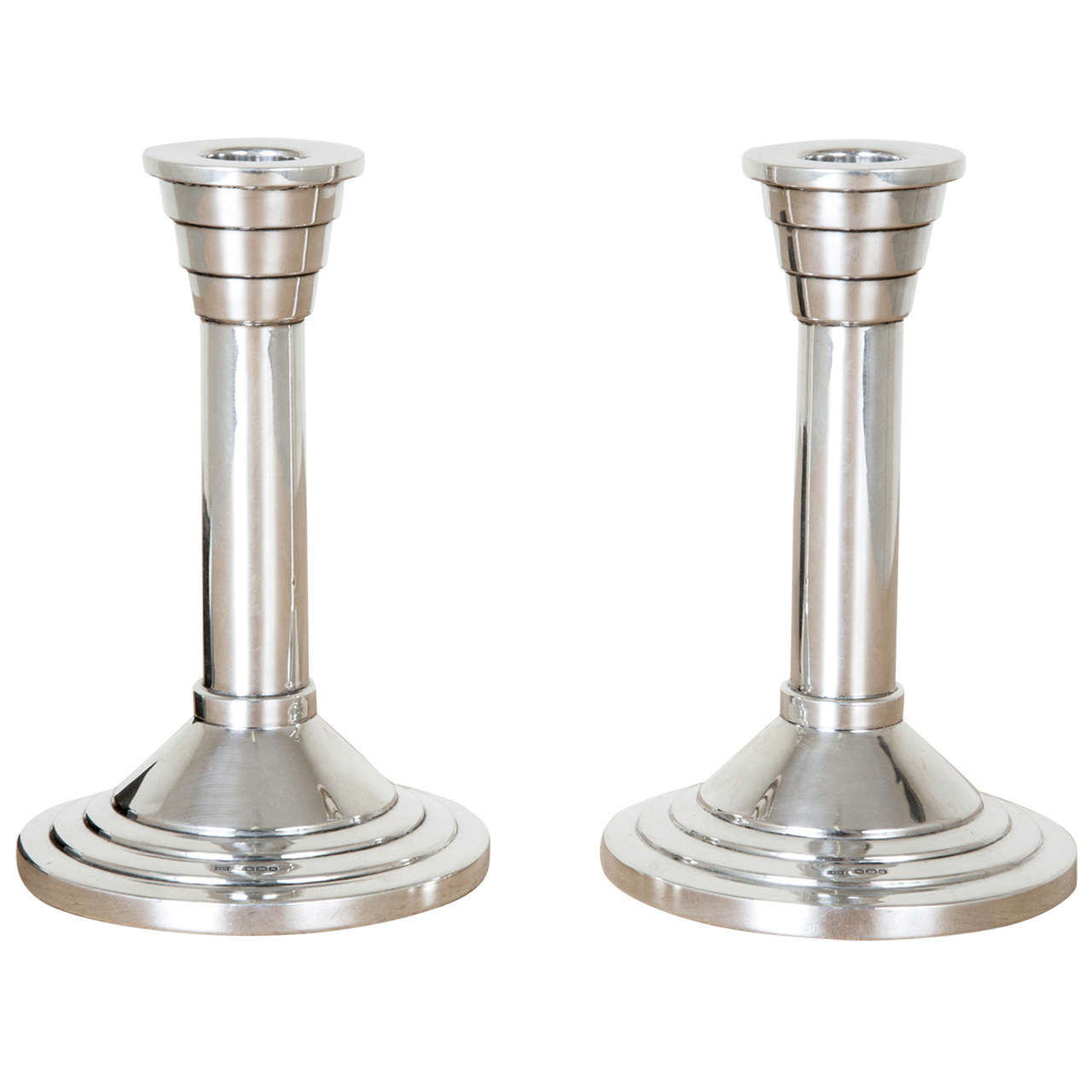 Pair Of Art Deco Sterling Silver Candlesticks At 1stdibs