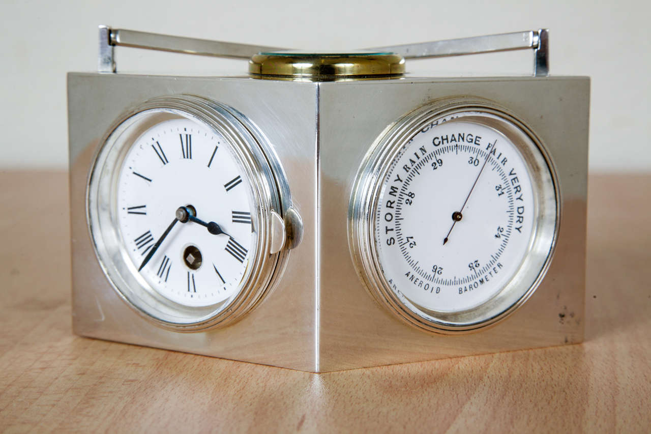 French Sterling Silver Combination Clock For Sale