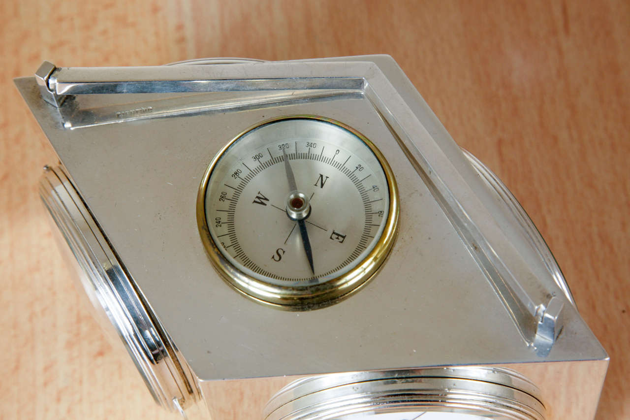 Sterling Silver Combination Clock In Good Condition For Sale In London, GB