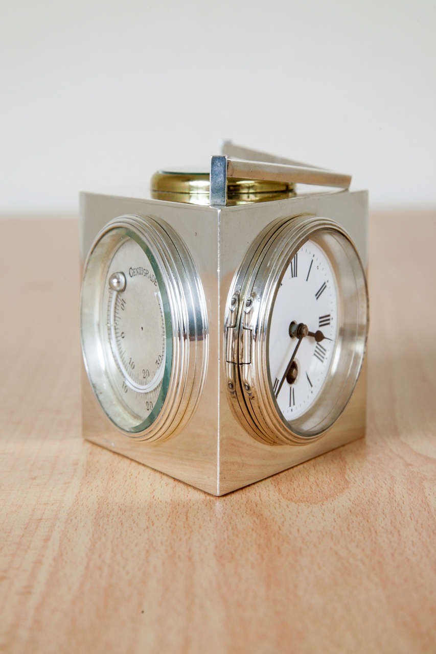 20th Century Sterling Silver Combination Clock For Sale