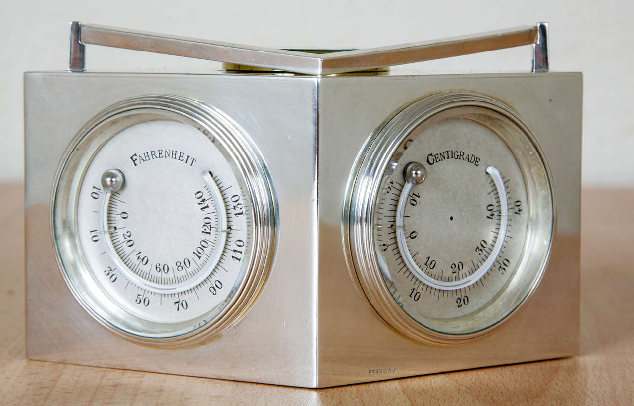 Sterling Silver Combination Clock For Sale 1