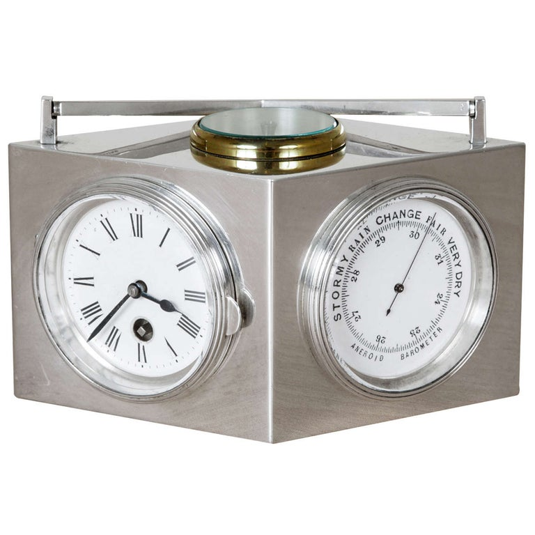 Sterling Silver Combination Clock For Sale