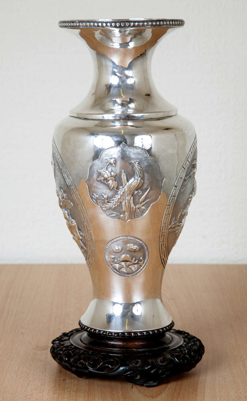chinese export silver vase for sale at 1stdibs