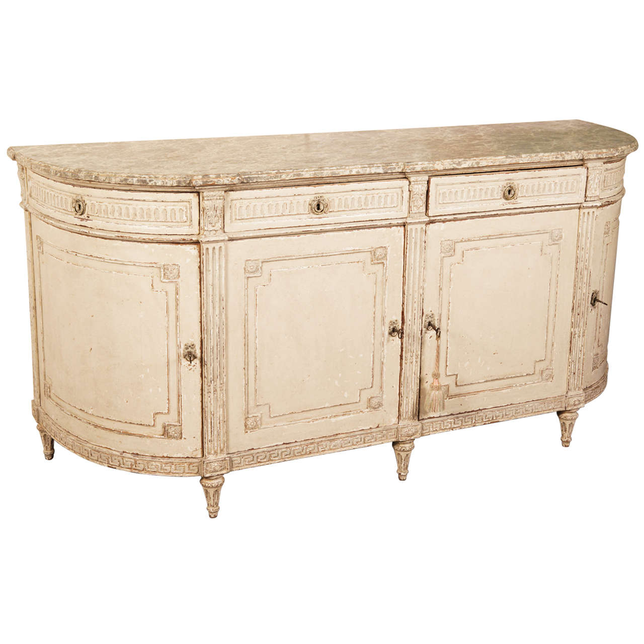 19th century louis xvi painted buffet sideboard with faux for Painted buffet sideboard