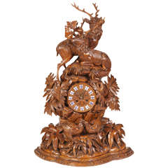19th C. Stags Black Forest Mantle Clock