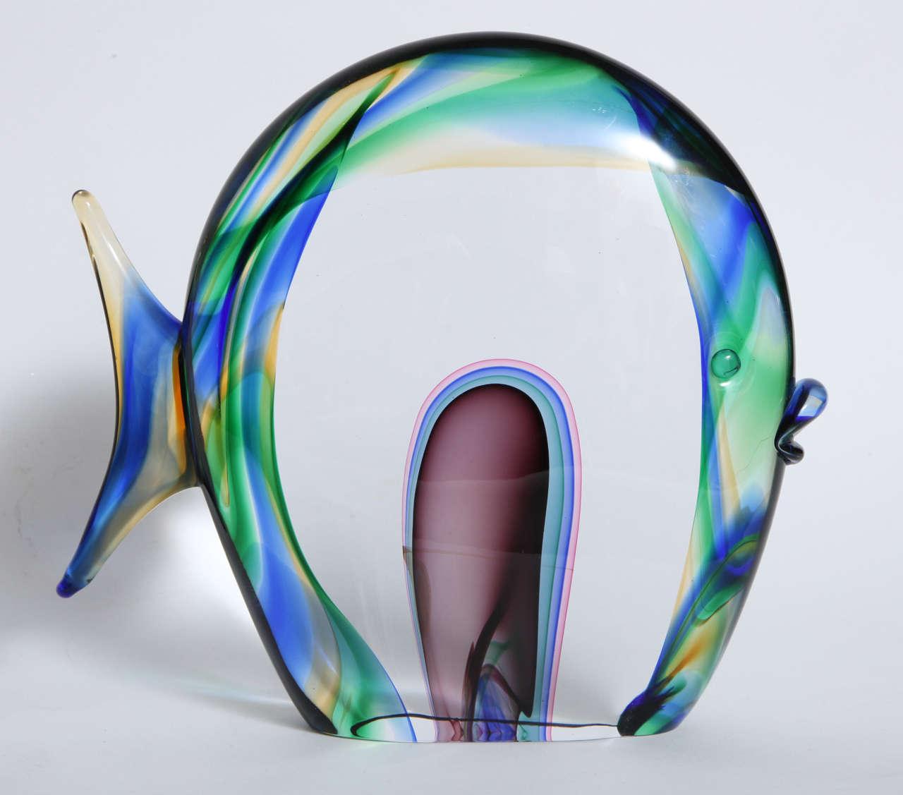 Murano glass fish signed luigi mellara for sale at 1stdibs for Murano glass fish