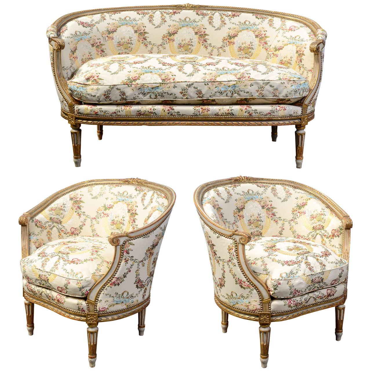 louis xvi style salon 3 pieces at 1stdibs. Black Bedroom Furniture Sets. Home Design Ideas