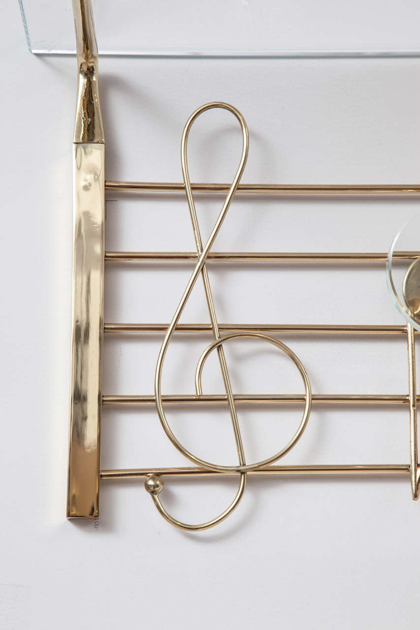 I Need Ideas For Decorating My Living Room: Rare Italian Brass And Glass Music Note Design Coat/Hat