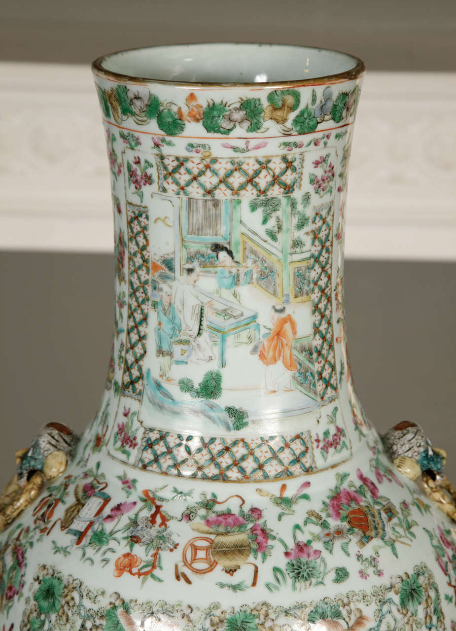 Chinese famille verte baluster vase at 1stdibs with twin animal head fixing ring handles applies to the shoulders enamelled and gilt in the chinese famille verte baluster vase reviewsmspy