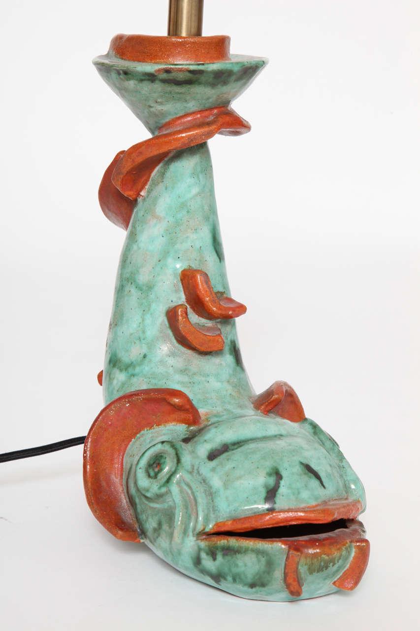 Vally Weiselthier Wiener Werkstatte Ceramic Fish Lamp
