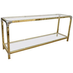 Mastercraft Glass and Brass Console Table