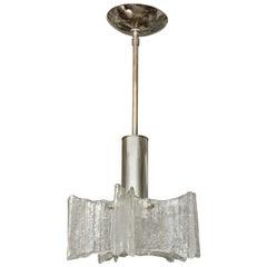 Clear Murano Glass Curved Element Pendant Fixture with Nickel Hardware