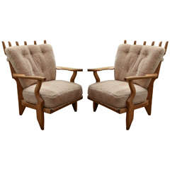 Mid-Century Guillerme et Chambron Oak Lounge Chairs in Shearling