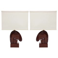 Pair of 1940s Mahogany Equestrian Table Lamps