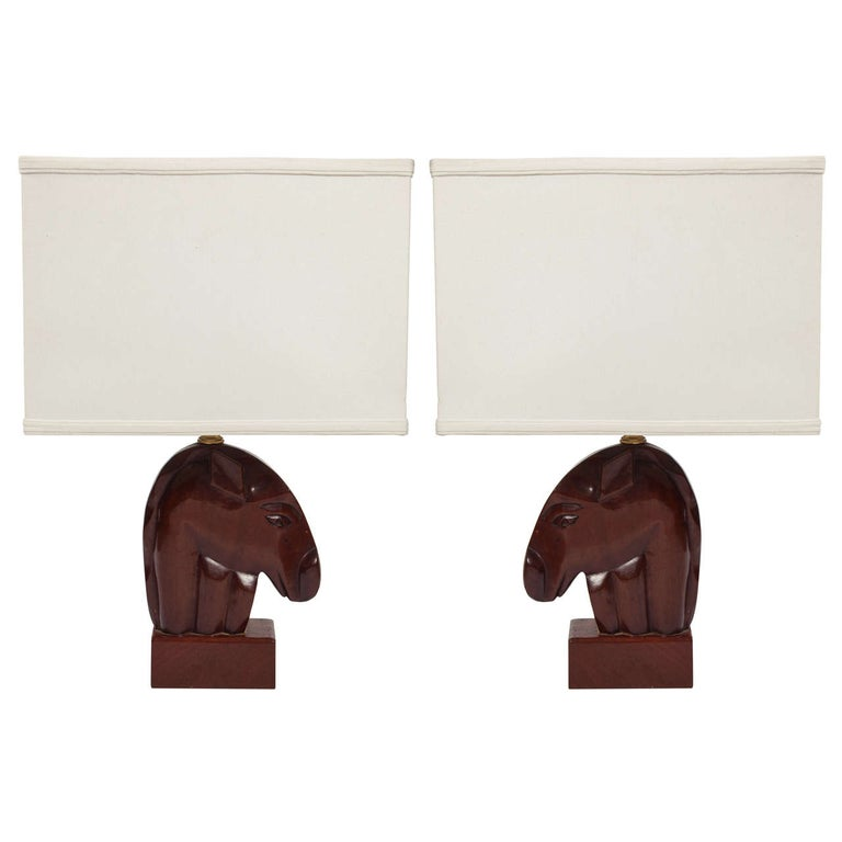 Pair of 1940s Mahogany Equestrian Table Lamps For Sale