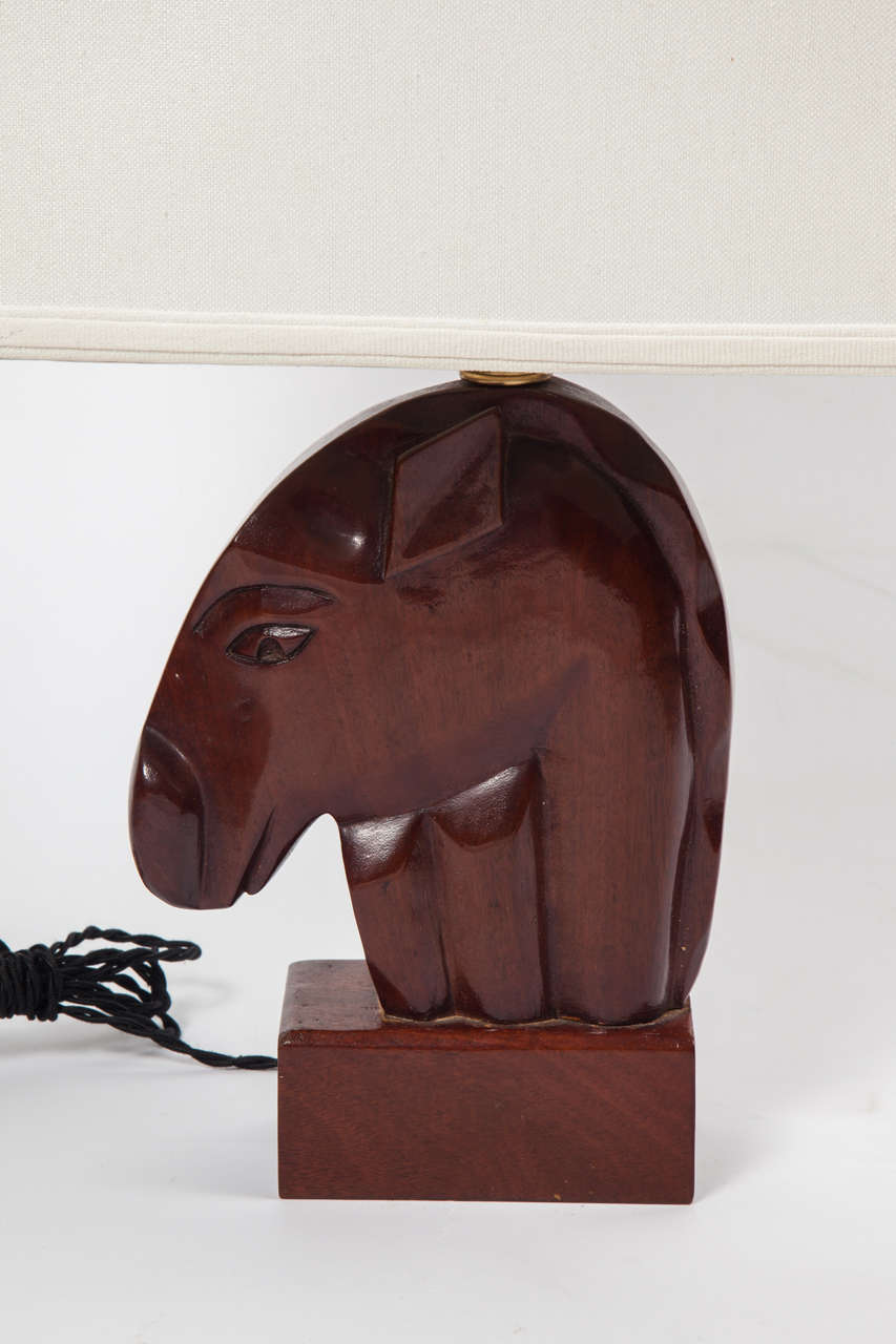 American Pair of 1940s Mahogany Equestrian Table Lamps For Sale
