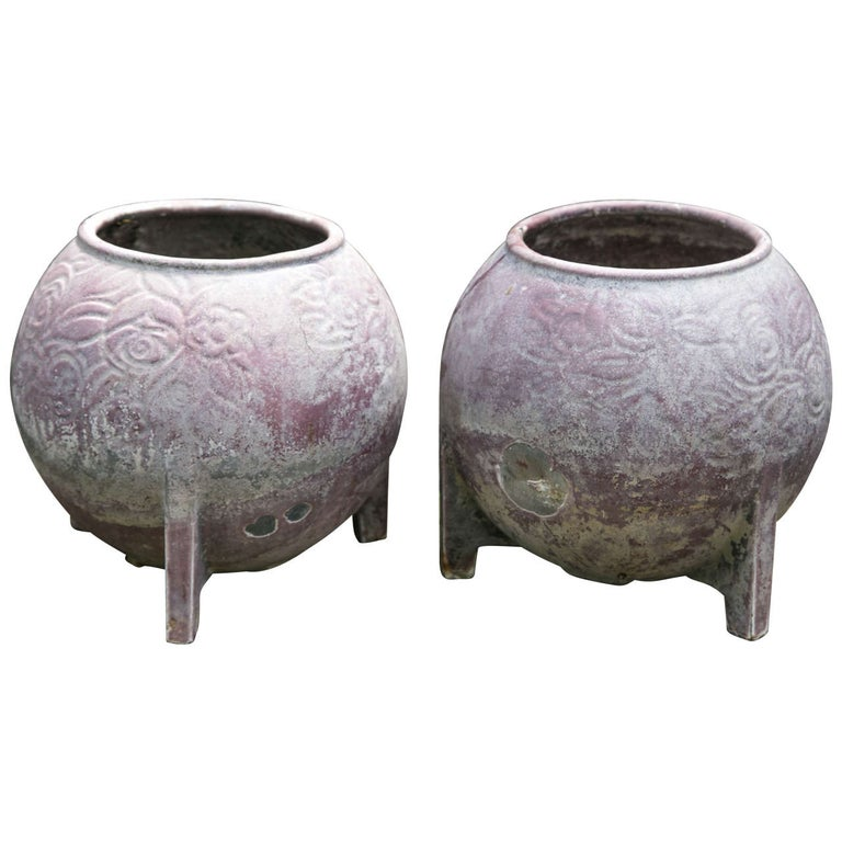 Pair of 1920s French Cast Iron Jardinieres with Original Purple Paint For Sale