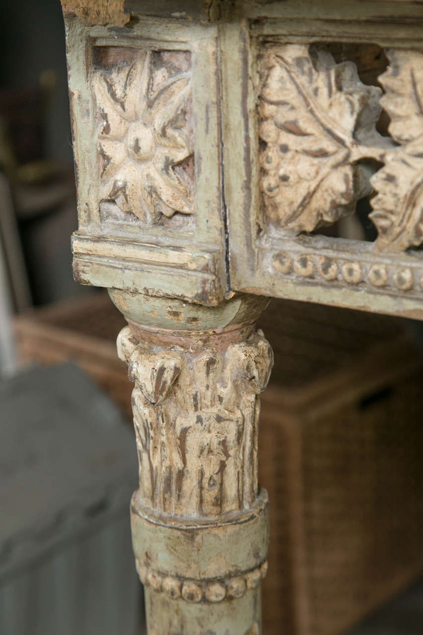 Engraved Limestone Inlay : Pair of italian carved wood console tables with carrara