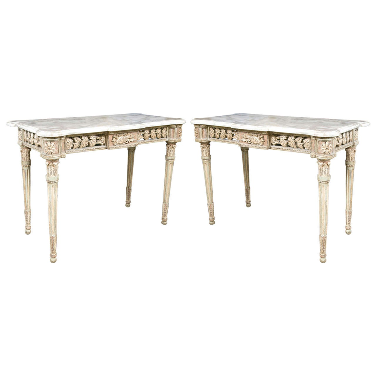 Pair of italian carved wood console tables with carrara marble pair of italian carved wood console tables with carrara marble tops 1 geotapseo Gallery