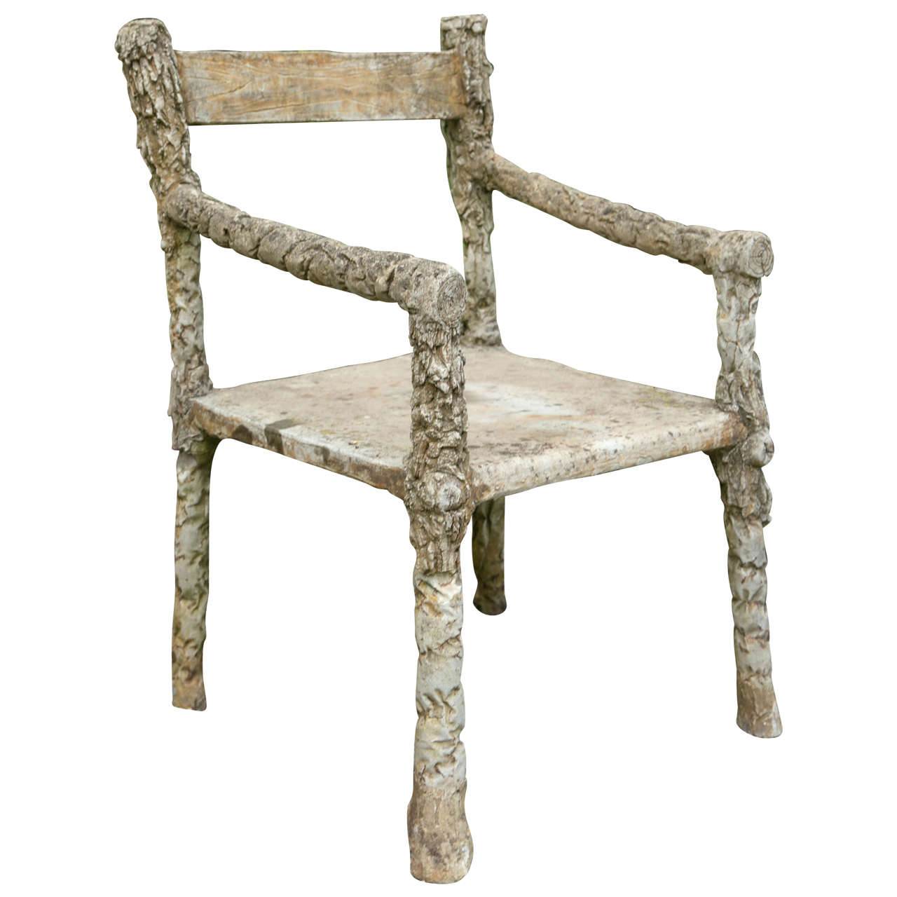 French Faux Bois Branch Form Garden Chair 1