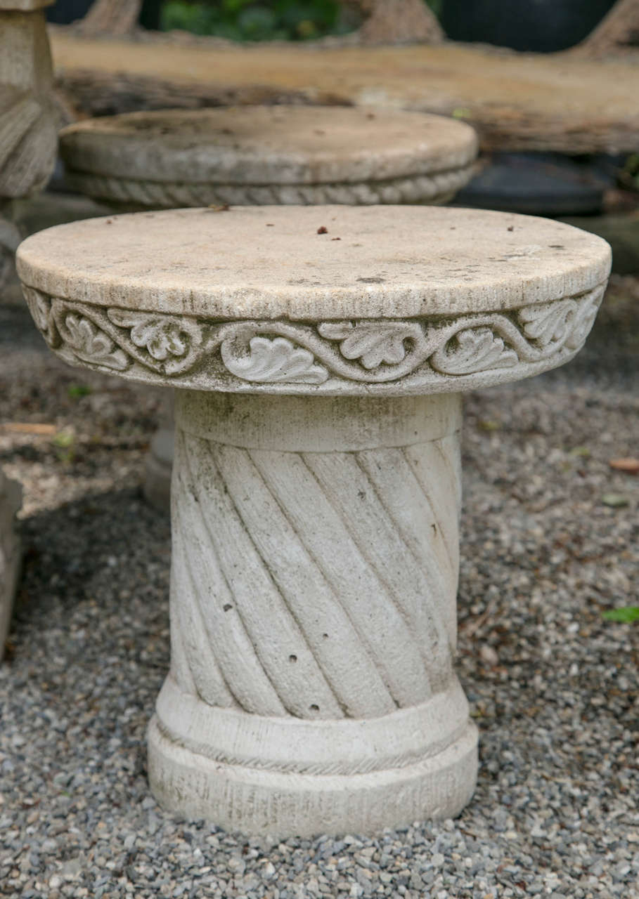 Neoclassical French Cast Stone Set of Five Stools and a Pedestal Table For Sale