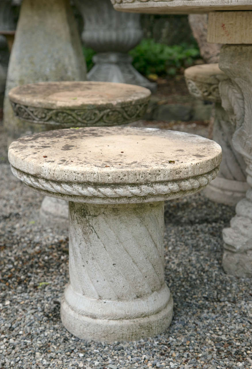 French Cast Stone Set of Five Stools and a Pedestal Table In Excellent Condition For Sale In Mt Kisco, NY