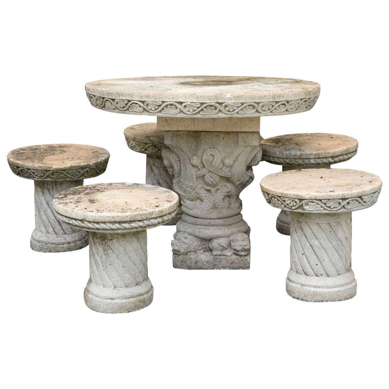 French Cast Stone Set of Five Stools and a Pedestal Table For Sale