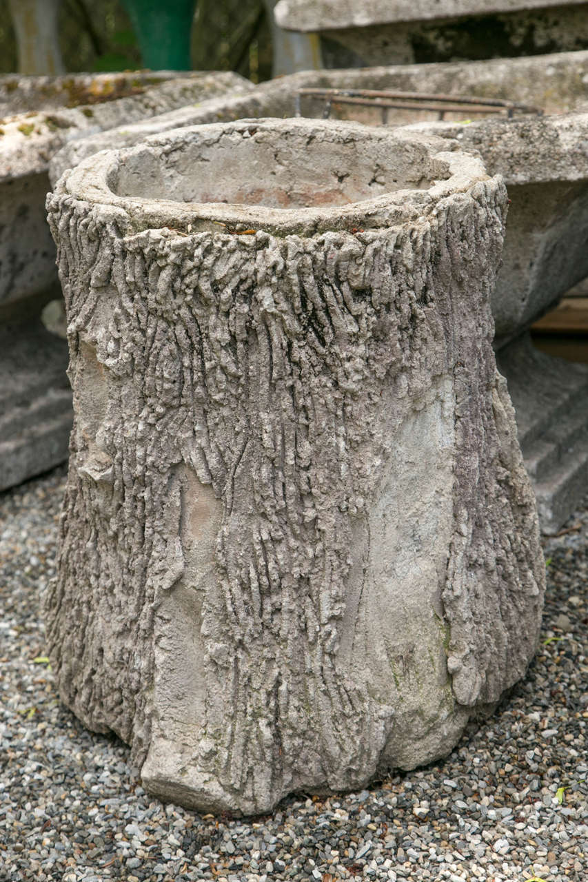 Pair Of French Faux Bois Tree Trunk Form Garden Planters