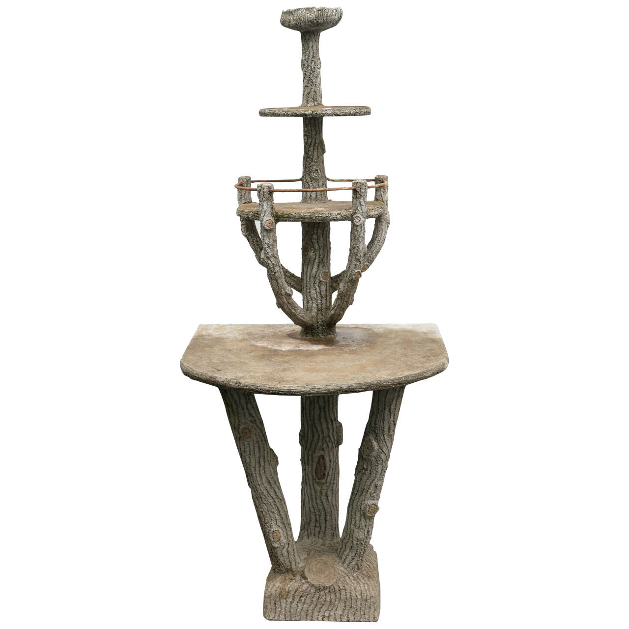 faux bois style cement etagere for sale at 1stdibs. Black Bedroom Furniture Sets. Home Design Ideas