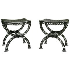 Pair of Cast Iron Neoclassical Stools