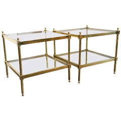 Pair of Square Brass Two-Tier Tables