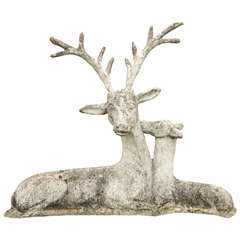 Unique Mother Deer and Baby Doe Cement Cast Sculpture