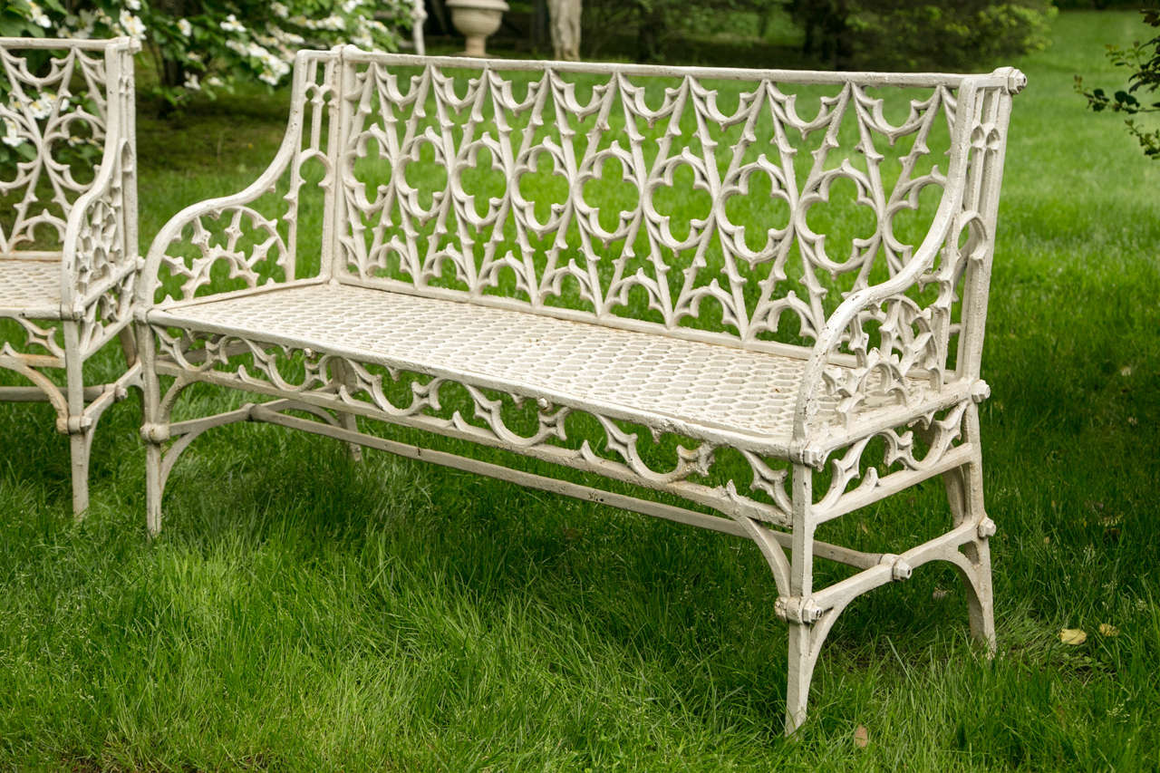 Pair Of Gothic Style Cast Iron Garden Benches 3