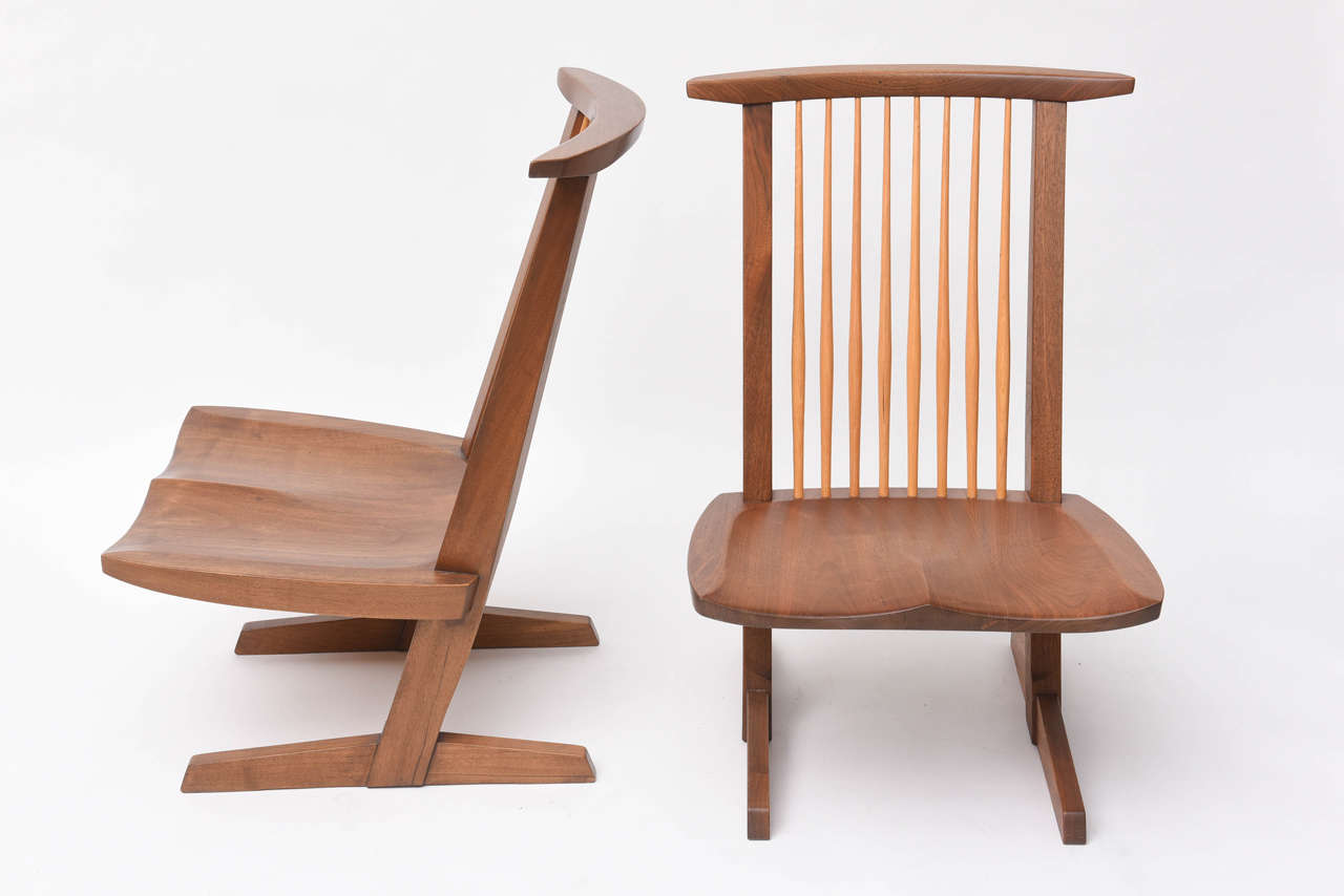 Walnut George Nakashima Conoid Low Chairs For Sale